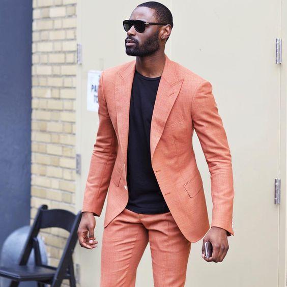 2019 2018 Latest Coat Pant Designs Orange Casual Men Suit Terno Slim