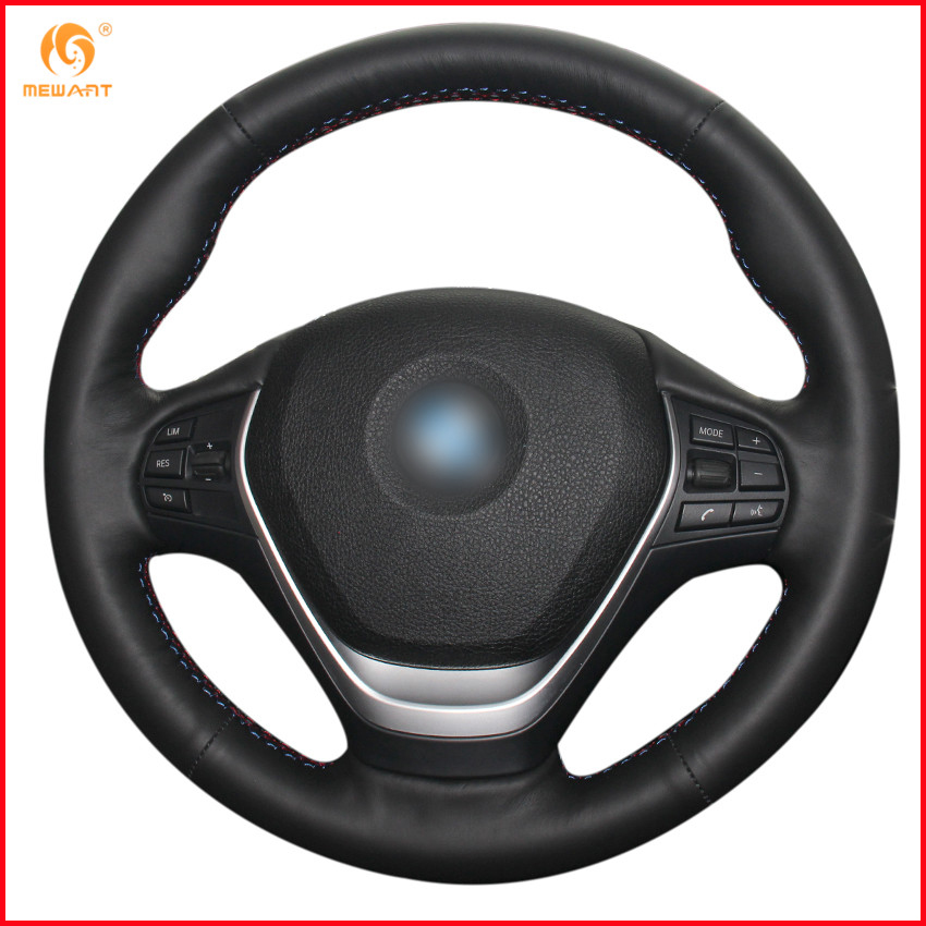 MEWANT Black Genuine Leather Car Steering Wheel Cover for BMW F20 2012 2018 F45 2014 2018