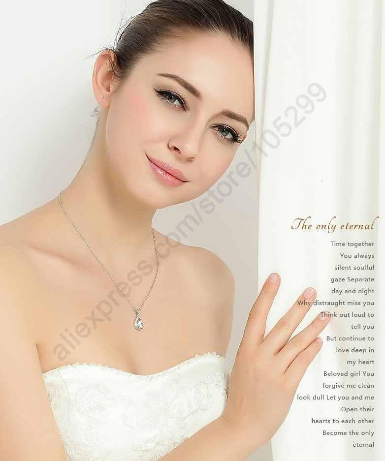 925 เงินสเตอร์ลิงชุดเจ้าสาวชุดต่างหูสร้อยคอสำหรับสุภาพสตรีสไตล์โรแมนติก Water Drop Shape คริสตัลออสเตรีย