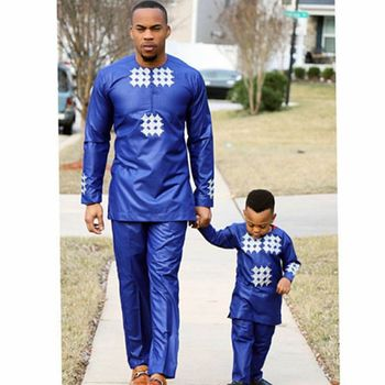 H&D african men kid boy clothing 2018 mens dashiki shirt africa bazin riche outfit clothes tops pant suits vetement africain