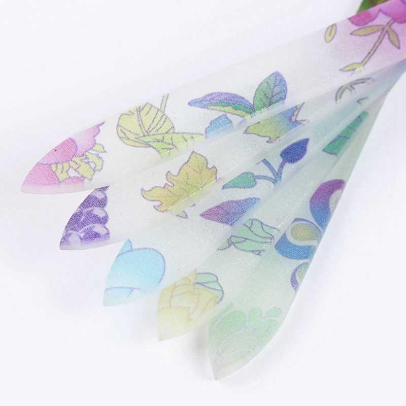 1 шт. штемпелюя пилочка для ногтей с цветами хрустальный стеклянный буфер 14 см для маникюра и ухода за ногтями случайный узор