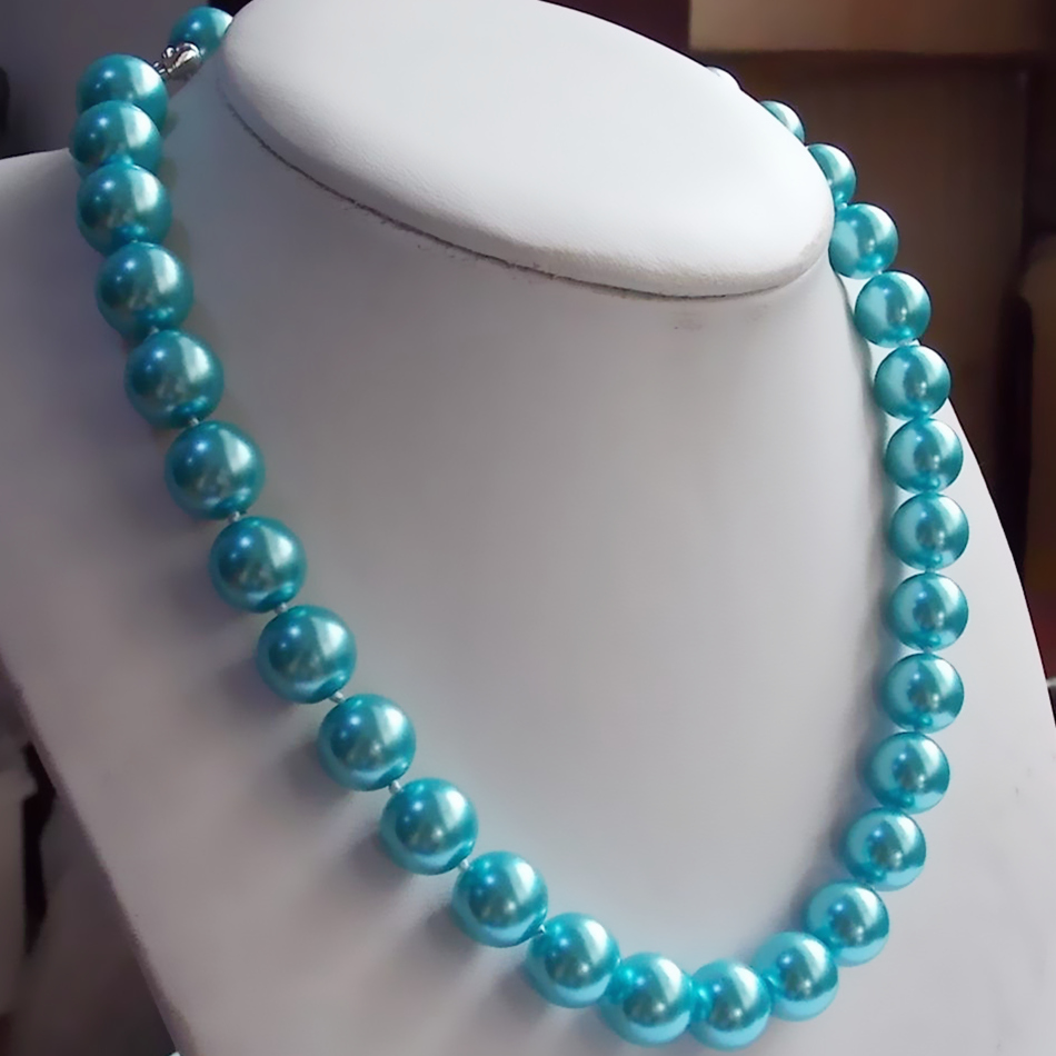 Fashion sky blue simulated-pearl 8mm 10mm 12mm 14mm shell noble round beads diy chains necklace for women jewelry 18 inch BV293