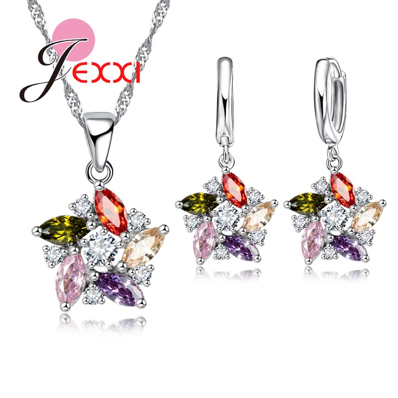 Brand Colorful Cubic Zirconia  Silver Wedding Bridal Wedding Jewelry Sets For Women Pendant Necklace Earring Sets