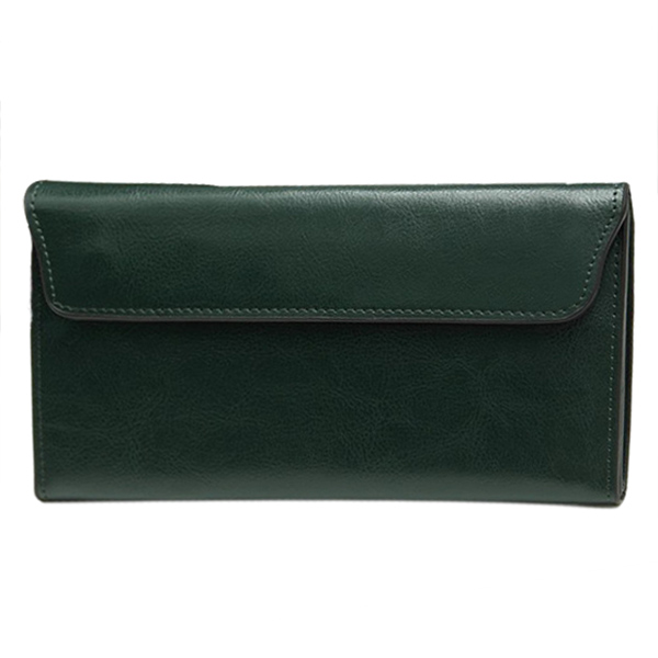 Genuine Leather Wallet Women High Quality Soft Long Purse Fashion Female Wallets Card Holder(Green) 2018 new women wallets oil wax genuine leather high quality long design day clutch cowhide wallet fashion female card coin purse