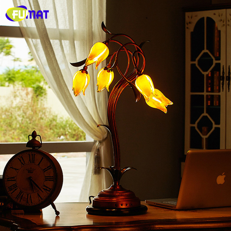 FUMAT Glass Table Lamp European Flower Bedside Lights Yellow Glass Shade Green Leaves Art Deco Living Room led Table Lamps fumat classic table lamp european baroque stained glass lights for living room bedside table light creative art led table lamps