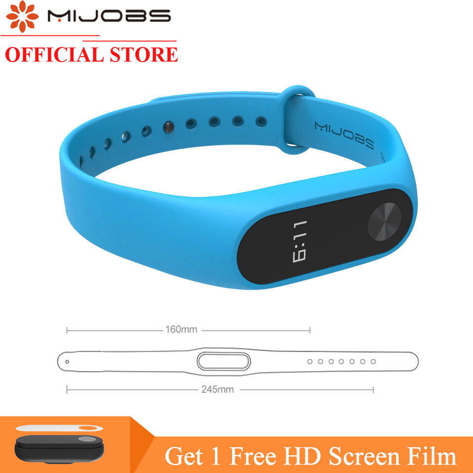 Mijobs Lengthened 160mm~245mm Colorful Silicone Wrist Strap Bracelet Smart Watch for Xiaomi Mi band 2 Wristbands Miband 2 Strap