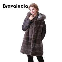 Bravalucia Detachable Sleeves Fur Coat Parka Real Fur Jacket Rex Rabbit Winter Women Long Parka with Hood Furs Collar Outwear