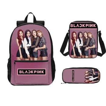 3Pcs/Set Portfolio School Bags For Boys Girls Black Pink 3D Printing Bookbag Laptop Backpacks Children Satchel Mochila Escolar