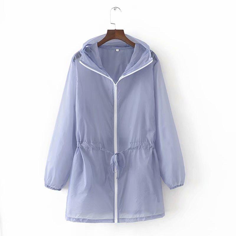 Summer White Hooded Sunproof Cardigan Beach Blouse Sunscreen See Through   Basic     Jacket   Pockets Women Girl Oversize Coat