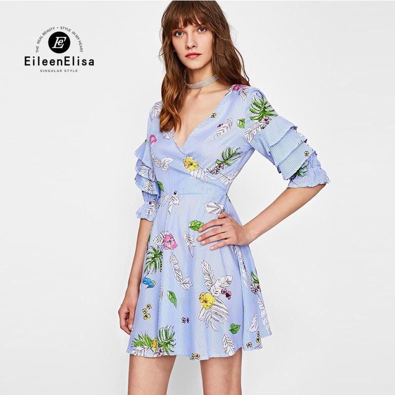 En Volants Papillon Elisa Style Sexy Profond Col De Manches Pics As 2017 Courtes Eileen Femmes V Imprimer Robe Mode Robes Mini Automne fqPA4