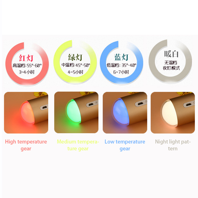 Rechargeable USB Capsule HandWarmer&Mobile Power Night Light Aluminum Alloy Heating Charging Portable Warm Baby