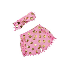 Children's Clothing Girls Shorts pink Dot Baby Girls shorts Overalls Cute Kids Clothes Girl Bottoms with bow headband 5set/lot