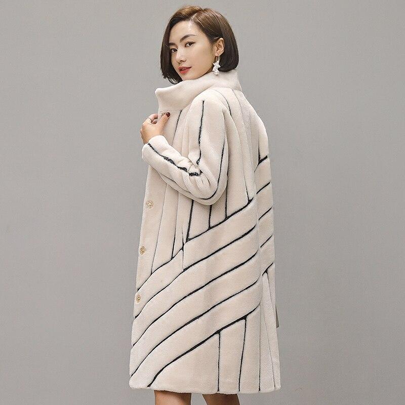 Пальто в полоску мутон пальто для женские tonfur пальто с мехом Для женщин зимние куртки с натуральным мехом Для женщин Меховые пальто 100% шерст...