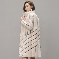 Пальто в полоску мутон пальто для женские tonfur пальто с мехом Для женщин зимние куртки с натуральным мехом Для женщин Меховые пальто 100% шерст