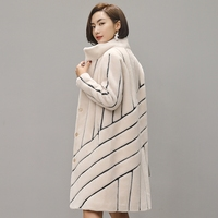 Striped Coat Mouton Coat for Woman female tonfur Fur Coat Women's winter jackets real fur women's fur coats 100% wool 2018