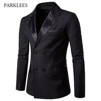 Black Blazer Men 2017 Fashion Double Breasted Mens Blazers Casual Pocket Slim Fit Blazer Hombre Trun