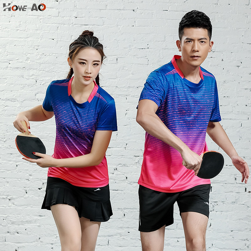 HOWE AO Women/Men Tennis Shirts  2019 New Design Sport Suit Shorts With Jerseys Breathable  Badminton Table Tennis Sportswear