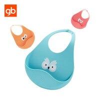 GB Cartoon Eyes Silicone Baby Bib Comfort Fit Adjustable Buttonholes Toddler Feeding Bibs Waterproof Portable Bibs
