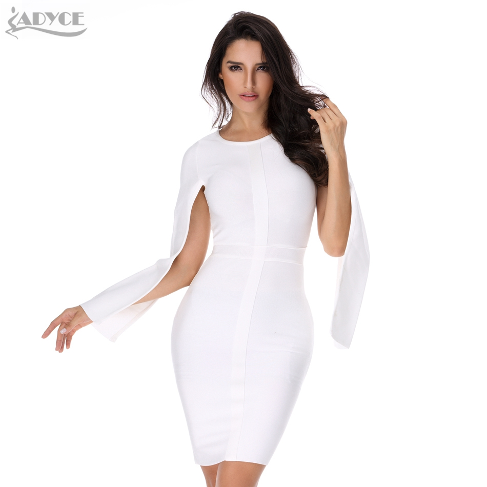 Buy Cheap 2016 Sexy Women Winter Party Dresses White Bodycon Dress Black O-neck Batwing Sleeve Luxury Celebrity Runway Dress Club Vestidos