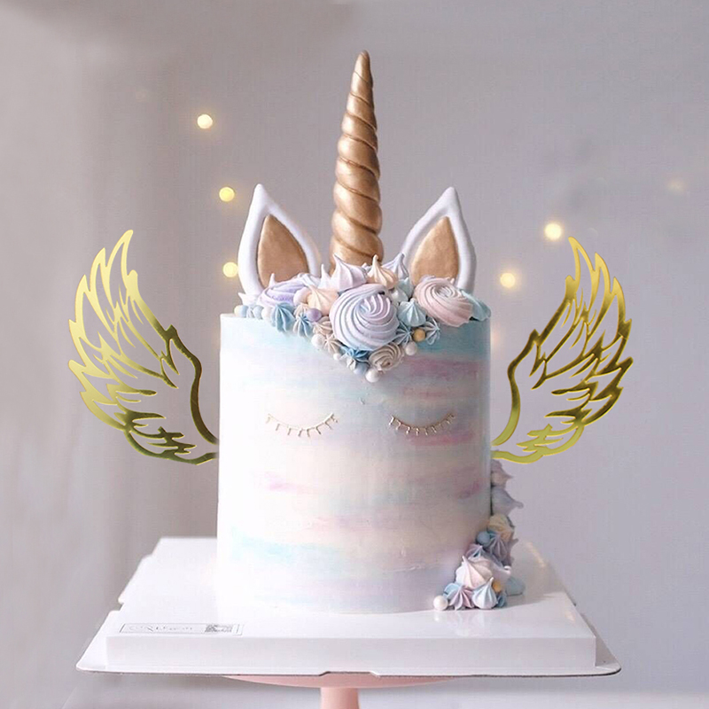 Angel Wings Unicorn Party Decoration Cupcake Cake Topper Picks Birthday Tool Baby Shower Boy Babyshower