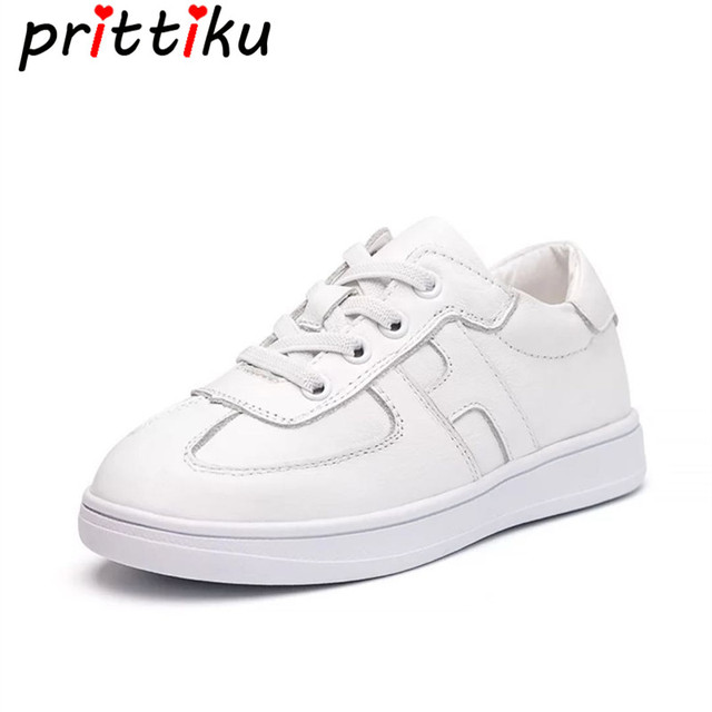 c7e47877b6c6a Spring 2018 Toddler Boy Girl White Sneakers Little Kid Genuine Leather  Fashion Trainers Big Children School