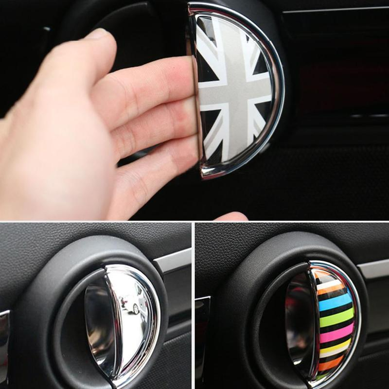 2pcs 3D Crystal Epoxy Car Interior Pull Handle Sticker For BMW MINI COOPER R56 R55 R60 R61 Countryman F55 F56 F60 Car Styling