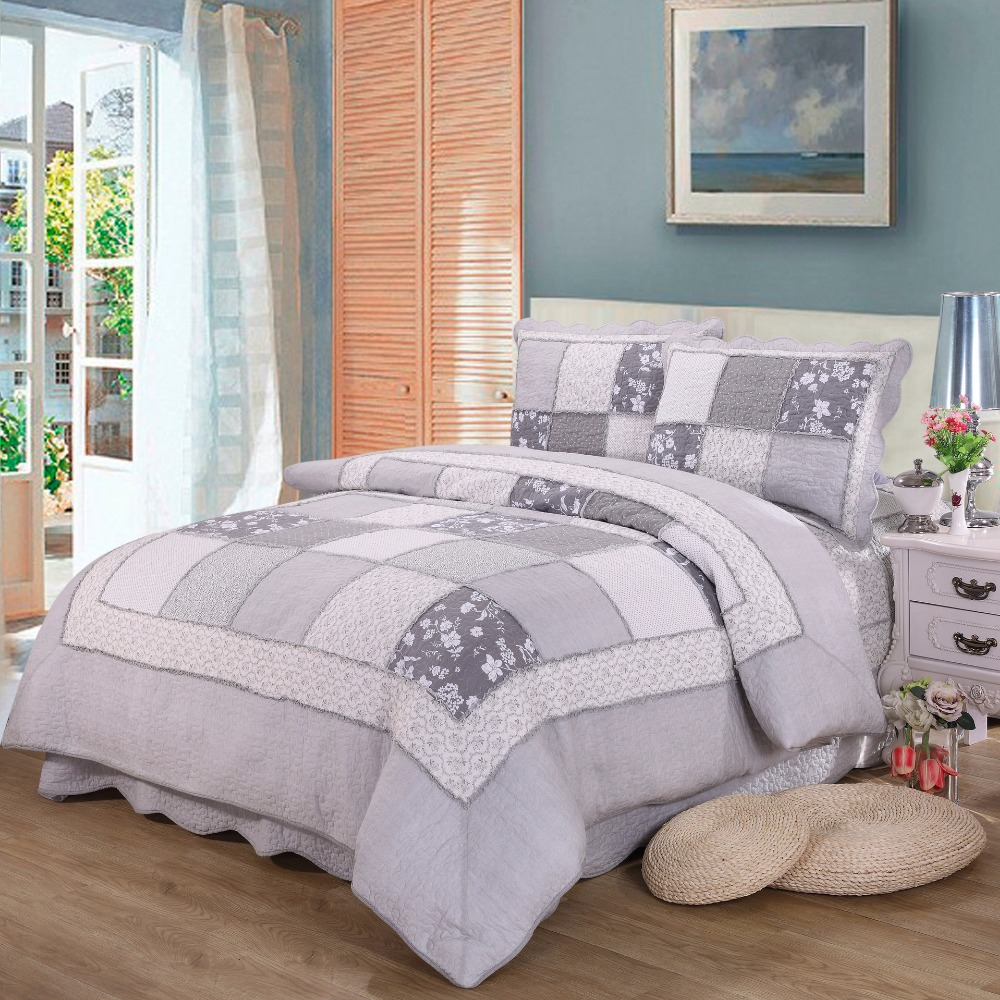 Quality Gray Patchwork Quilt Set 3PCS/4pcs Quilted Cotton Quilts Bed Covers Bedspread Duvet Cover King Size Bedding Coverlet ...
