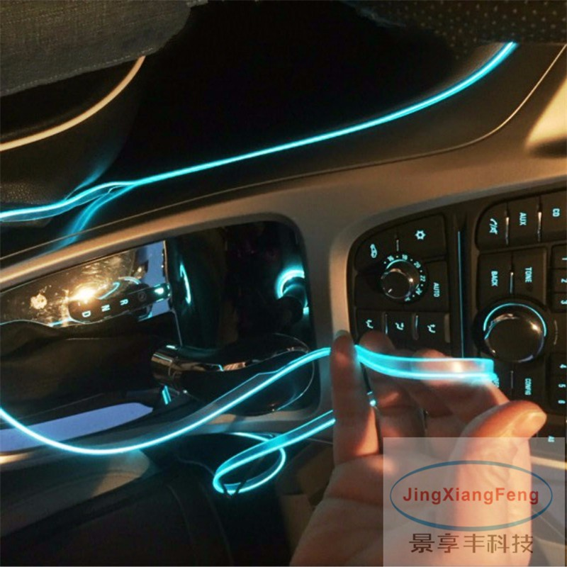 JingXiangFeng 1M LED Flexible Neon Light Glow EL Wire Car Moto Decorative Lights 10 Colors 12V Atmosphere Strips Case For Opel image