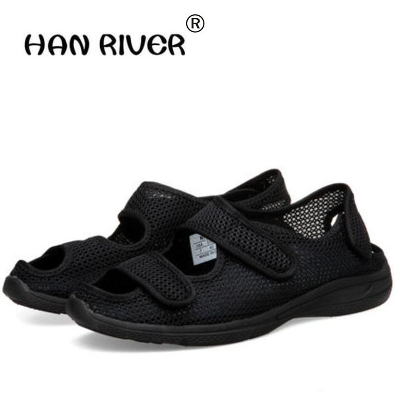2018 summer men's Comfortable Diabetic Shoes Foot enlargement code magic stick overturns middle-aged and elderly sandals rutin and diabetic gastropathy