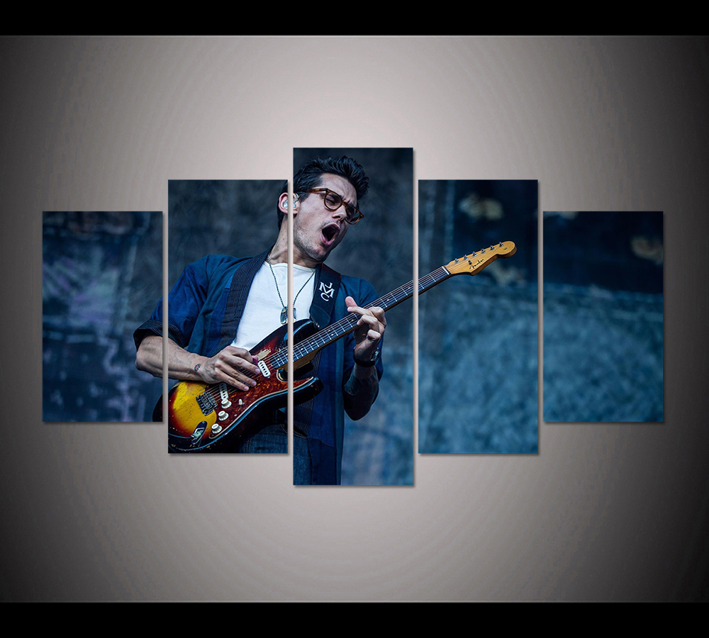 John Mayer Cool Painting: HD Print 5pcs John Mayer Performing Poster Painting Modern