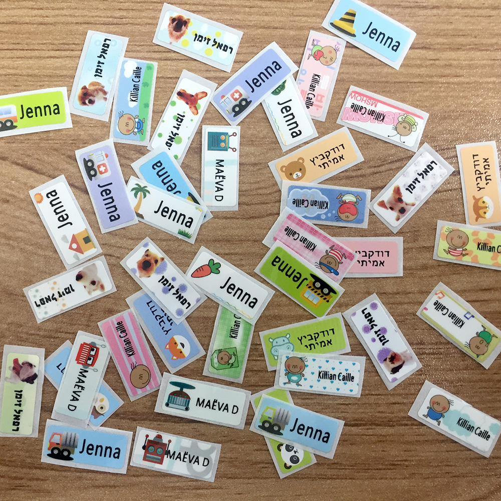 Personalised Waterproof Stick On Name Labels for Clothing// School Name Tags
