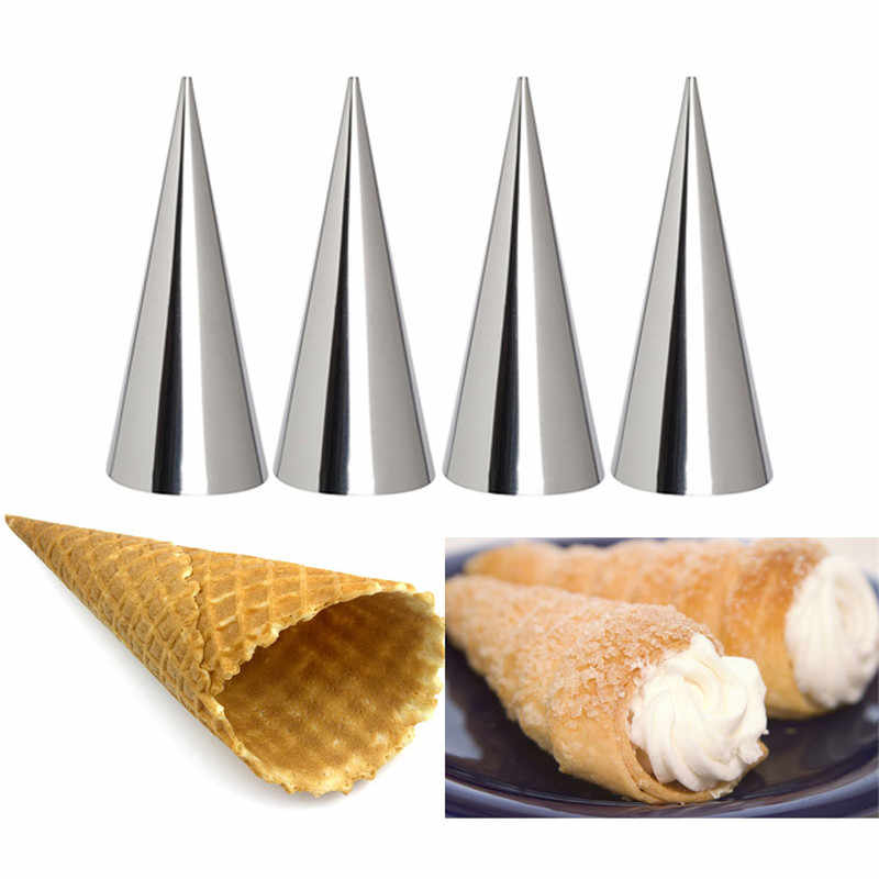 1Pc Stainless Steel Danish Pipe Baking Cones Horn Pastry Roll Cake Mold Spiral Baked Croissant Tubes Kitchen Cookie Dessert Tool