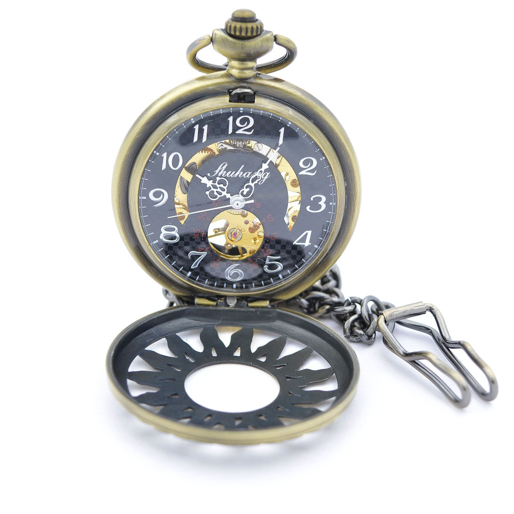 The flame flower mark Bronze Tone Hollow Case mechanical pocket watch retro chain fashion for men and women gift watch H215