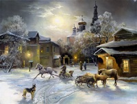Free shipping nice quality Thomas Kinkade reproduction carriage on snowfield beautiful landscape giclee prints canvas
