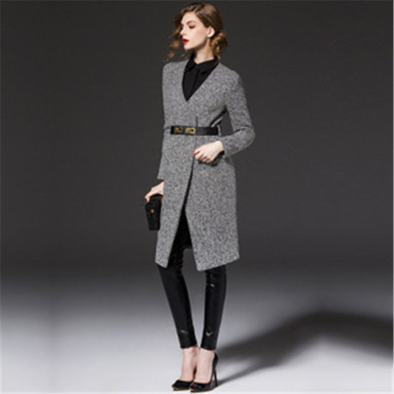 Women Blends Jacket 2015 Autumn Winter Long Wool Overcoat Female