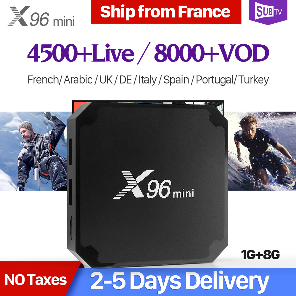 French IPTV Box X96 mini TV Box Android 7.1 S905W SUBTV Code IPTV France Belgium Turkey Arabic IP TV Box X96mini IPTV Top Box