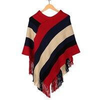 אופנה סגנון חדש רב צעיף חורף אישה סתיו סרוג סוודר חם מקרית Loose פונצ 'ו קייפ צעיף אתני