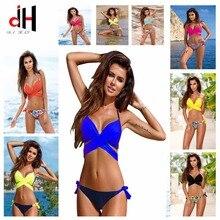 Bather DA HAI Bikini 2017 new swimwear women 23 color cross printing pure color swimsuit bikini set bikinis 2017 mujer biquini