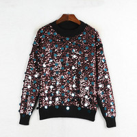 Chic Crew Neck Sequin Beading Knitted Sweaters Winter Wool Glitter Ladies Jumper Sweater Pullovers Femme Streetwear Pull Mujer