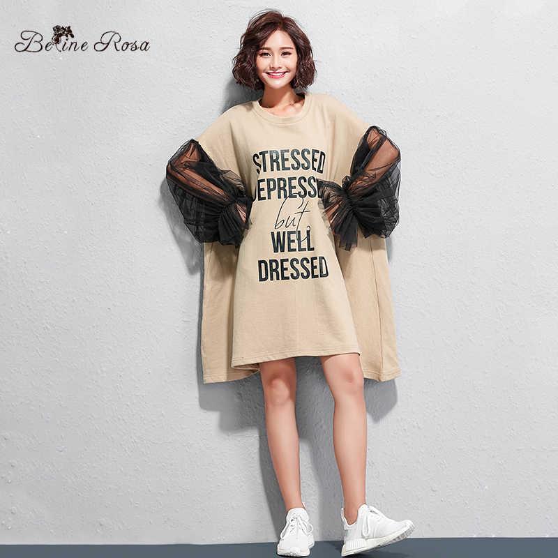 BelineRosa 2019 модные короткие платья женские сексуальные черные Сетчатое платье-фонарь с рукавом черный европейский стиль мини-платье TYW00943