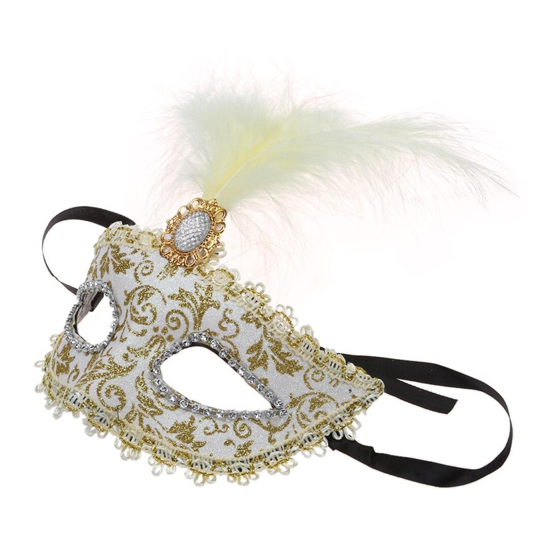 d77b37ed648eb ᗗMáscara Máscara com Penas Estilo Veneziano Ouro Branco X Festa de .