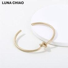 Фотография Simple Knot Brass Bangle Worn Matte Gold Plate Cooper Basic Bangle Jewelry