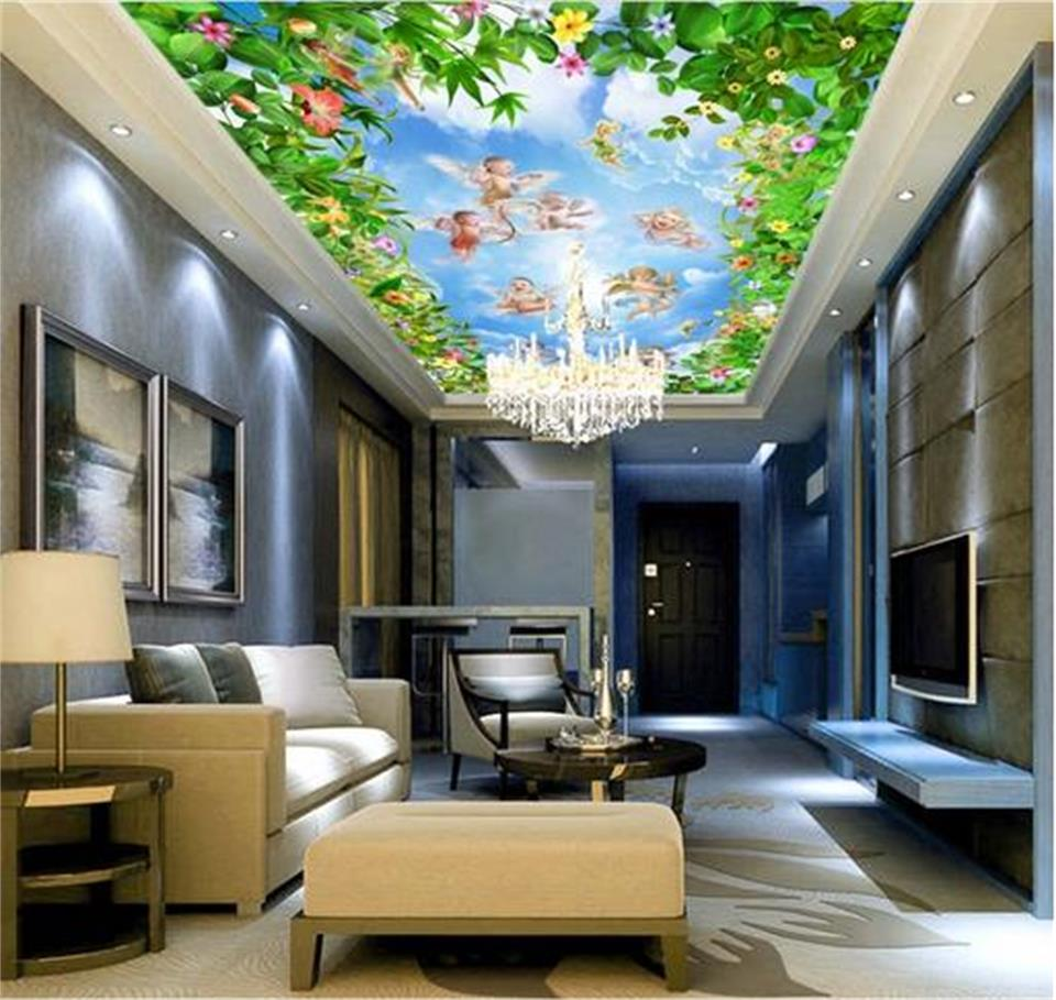Papier Peint Petit Salon €13.57 51% de réduction|3d plafond peintures murales papier peint  personnalisé photo non tissé fleurs petit ange peinture 3d mural papier  peint pour