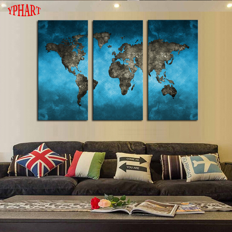 Unframed 3 Panels Abstract Blue Map Landscape HD Picture Canvas Print Painting Modern Canvas Wall Art