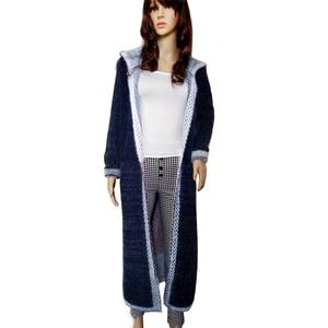 Image 2 - Women Autumn Long Mink Cashmere Sweater Cardigan Female Mohair Knitting Coat   High Quality