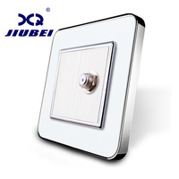 Jiubei Wholesale Retail White Crystal Glass Panel 1 Gang Satellite Socket Outlet Without Plug Adapter SV