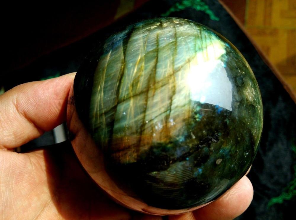 SCY A j00658 AAAA NATURAL Labradorite quartz crystal sphere ball healing