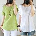Algodón blusa blusas de lino Sen ropa de mujer camisa del arte del paño código de comercio