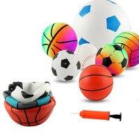 בועת כדור מתנפח גומי לילדים כדורגל כדורעף כדורסל עם משאבת כדור חיצוני צעצוע פנימי קטן לילדי בנים