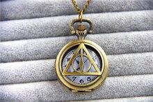 Hp reliquias de la muerte joyería de moda encanto de la vendimia del reloj de bolsillo colgante collar